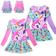 Lovely Cartoon My Little Pony Costume Top Kids Girls Flower Party Dress Skirts W