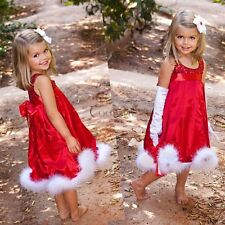 Kids Girls Sequin Glitter Dress Christmas Pageant Graduation Red New