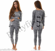 Womens Ladies Bow back Full Tracksuit Sweatshirt Jogging Bottoms Sport Gym Suit
