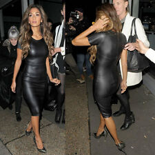 Sexy Women Wet Faux Leather Look Short/Long Sleeve Bodycon Midi Party Dress