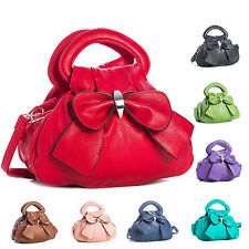 New Faux Leather Womens Bow Top Multiple Zip Pockets Designer Chic Small Handbag