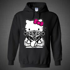Hello Kitty Gang Gangsta Guns Tattoos Bandana Hoodie Pink Bow Swag