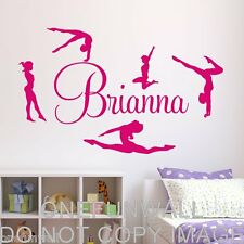 Personalized Name & Gymnasts Vinyl Wall Decal Gymnastics Dance Decor'