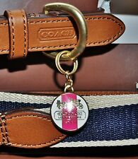 NEW Coach Heritage Brown Leather Dog Collar Leash Set w/ Pink Charm sizes S, M
