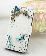 Bling Rhinestone Wallet Card Holder PU Leather Flip Pouch Case Cover For Nokia