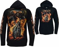 Grim Reaper Biker Ghost Rider Glow In The Dark Zip Zipped Hoodie Hoody Jacket