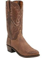 Lucchese 1883 N9581 R4 Barnwood Brown Burnished Smooth Ostrich Boots MADE IN USA