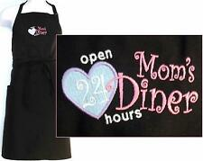 Mom's Diner Apron + Free Name Funny Open 24 Hours Mothers Day Monogram Custom