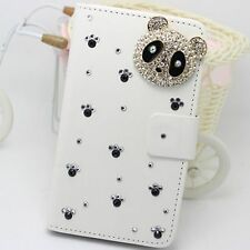 Bling Panda Wallet Card Holder PU Leather Flip Pouch Cover Case for LG Phones