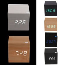 Modern Digital LED Wooden Wood Desk Alarm Clock Voice Control Thermometer