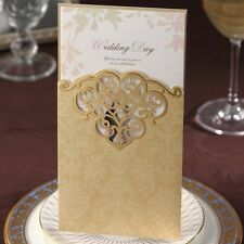 Bright Golden Shiny Hollow Pattern Wedding, Party, Baptism Invitations Cards