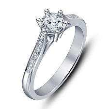 Beautiful Design Platinum Plated 925 Sterling Silver Solitaire Ring For Women