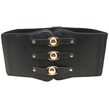 New Fashion Women PU Corset Elastic Stretch Wide Waist Belt Band Cinch Waistband