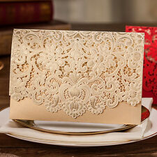 Elegant Golden Hollow Flowers Wedding Invitations Cards with Envelopes, Seals