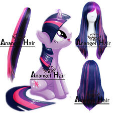 Free Hair Cap+My Little Pony Twilight Sparkle Wig Tail Ponytail Costume Party