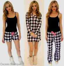 NEW WOMENS CHECKED PYJAMA BOTTOMS SHORTS TROUSERS PINK PJS CHRISTMAS (NP, Q)