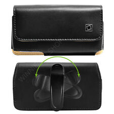 PREMIUM Leather Sideways Swivel Belt Clip Case Pouch Holster for Cell Phones NEW