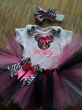 Minnie Mouse tutu outfit, zeba, pink, black, and white. Birthday tutu outfit