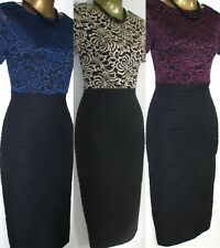 New Elegant Vtg 50's Lace Bodycon Black Pinup Pencil Wiggle Party Cocktail Dress