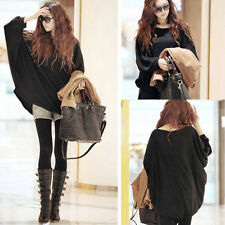 Women Lady Oversized Batwing Long Sleeve Knit Sweater Loose Jumper Pullover Tops