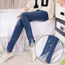 New Woman Diamond Lace Skinny Jeans Pants Trousers with Diamond Beading Elastic