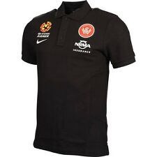 WESTERN SYDNEY WANDERERS A-LEAGUE SOCCER BLACK POLO SHIRT MENS SIZE 2013/2014