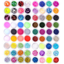 12/18/24 Colors Nail Art Acrylic UV Gel Glitter Powder Beads Sheet Chip Lace Set