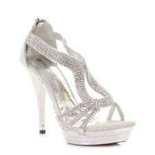 Womens Ladies Strappy Silver Diamante Glam Party High Heel Shoes, Uk Uk Size