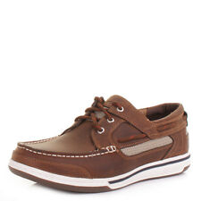 Mens Sebago Trition 3 Eye Walnut Leather Deck Boat Nautical Shoes Uk Size