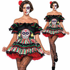 Ladies Sexy Mexican Day Of The Dead Costume Floral Dress