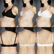 WOMENS BERLEI BARELY THERE COTTON BLACK NUDE WHITE MATERNITY BRA SZ C D DD E F