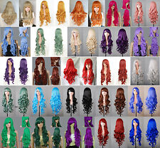 "32"" Long 80cm Heat-resistant Curly Wavy Hair Wig Cosplay Party Wigs 34 Colors"