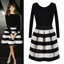 Fashion Lady Stripe Stitching Black Round Neck Long-sleeved Knit Dress