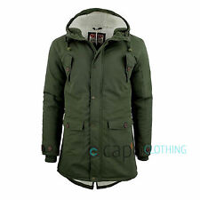 Mens Parka Jacket Tokyo Laundry Iguana Fishtail Hooded Coat Fleece Lined