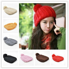 Women Warm Winter Beret Braided Baggy Slim Knit Crochet Chic Beanie Hat Ski Cap