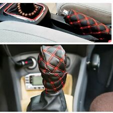 2 Pieces Car Hand Brake Covers Accessory Decoration Gear Set Grid Microfiber PU