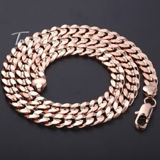 New HEAVY 10mm Boys Mens Chain Curb Cuban Link Rose Gold Filled GF Necklace GIFT