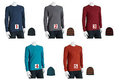 Levis T-Shirt & Beanie Combo Mens Long Sleeve Crewneck Thermal Tee & Ski Hat Set