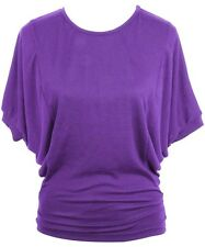 NWT Women Dolman Sleeves Banded Hem Boat Neck Knit Top Lilac S-M