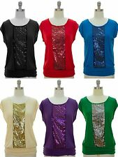 NWT Women Sequin Embellishment Scoop Neckline Ruched Banded Hem Knit Top S-XL
