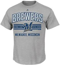 Milwaukee Brewers Majestic 1st to 3rd Men's Gray Tee Shirt Big And Tall Sizes
