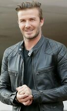 David BECKHAM LEATHER JACKET BIKER SLIM FIT Uomo Nero Giacca in pelle
