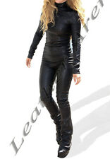 Genuine Leather Female Body Fitted Catsuit In Black With Full Sleeves Back Zip