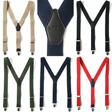 Mens Faux Leather Elastic Suspenders Wide Suit Office Adjustable Braces Clip-On