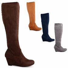NEW WOMENS WEDGE FAUX SUEDE HEEL KNEE HIGH LADIES FASHION BOOTS SHOES SIZE