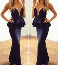 Sexy Strapless Plunge VNeck Peplum Mermaid Prom Gown Party Cocktail Maxi Dress B