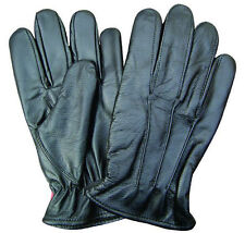 Mens Black Lined Leather Driving Gloves w Elastic Wrist