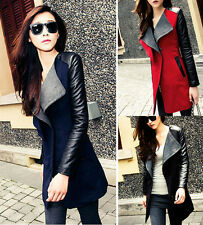 Womens Long Warm PU Leather Sleeve Jacket Coat Parka Outerwear