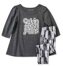CALVIN KLEIN Girls 2 Piece Set Tunic Top Tee Leggings Pants NWT 12M 18M Grey