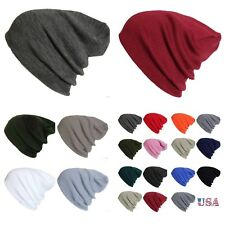 Plain Beanie Knit Ski Cap Skull Hat Warm Solid Color Winter Cuff New Unisex